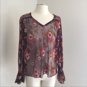 Anthropologie Floral Sheer Embroidered Blouse